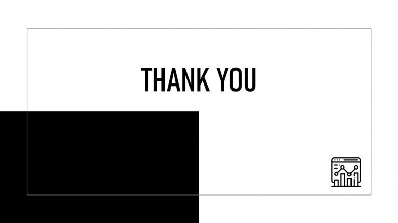 Simple Thank You Slide in black and white