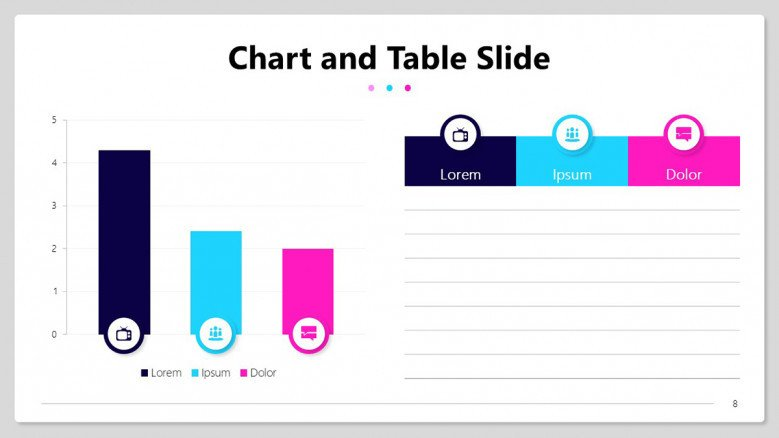 Quiz results slide with column bar charts and table