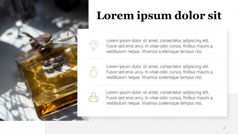 Luxury Brand PowerPoint Template in a white layout