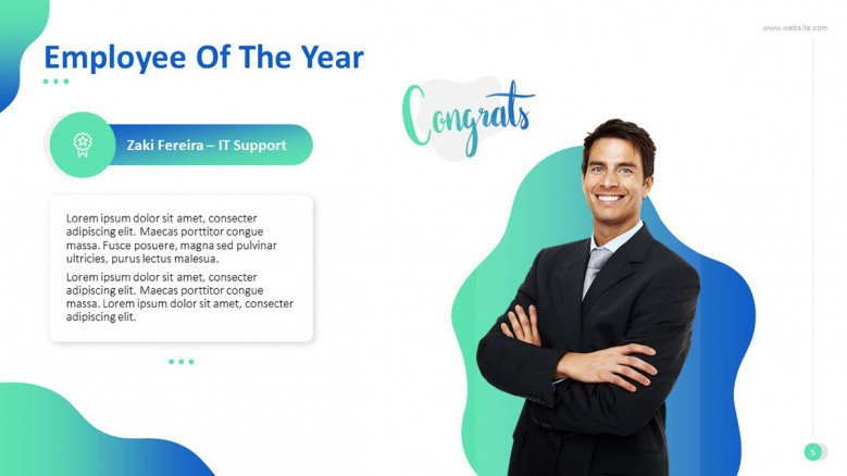 'Employee of the Year' congratulatory slide with image and text