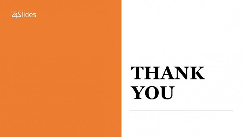 Orange and white Thank You Slide in corporate style