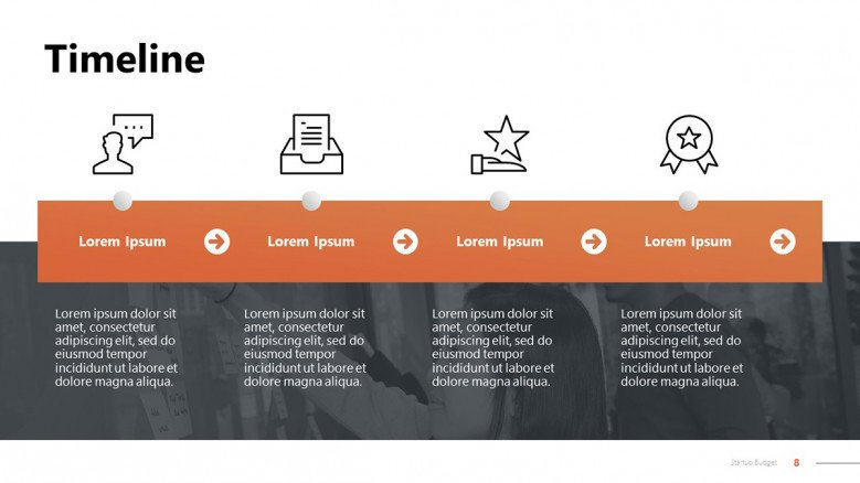 Startup Timeline in PowerPoint with icons