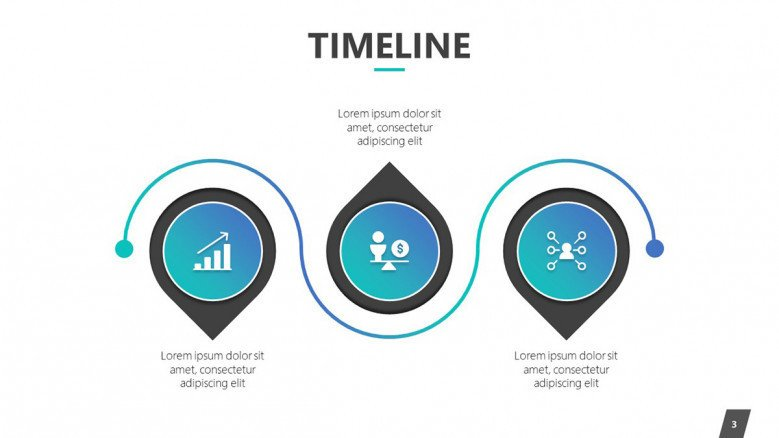 timeline slide in three segments with icons