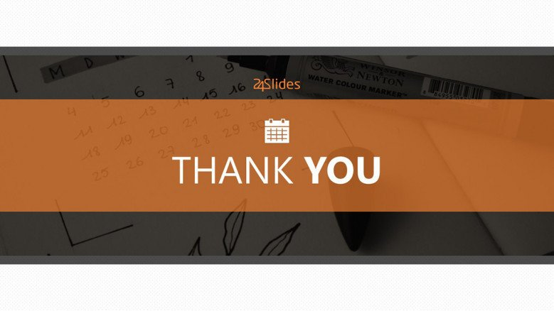 Calendar thank you slide in orange theme