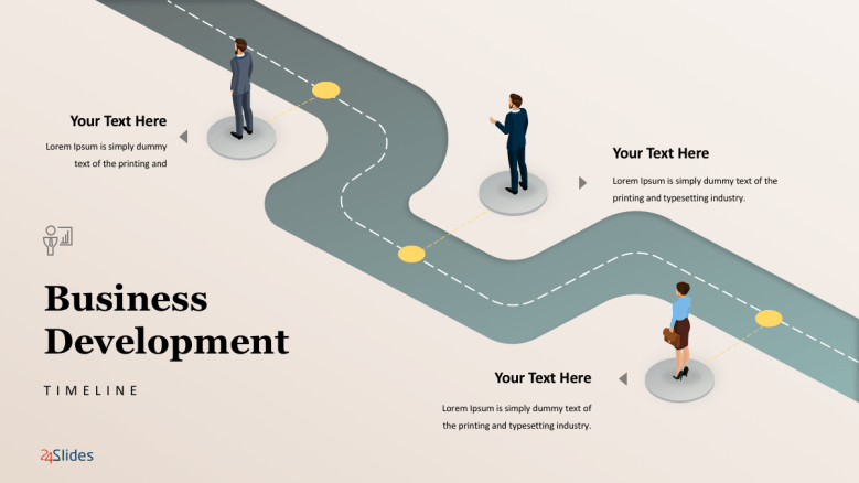 Business roadmap template free powerpoint templates business development timeline slide with cartoon icon cheaphphosting Gallery