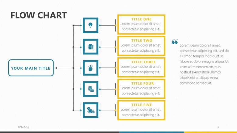 flowchart slide for organization structure presentation with icons