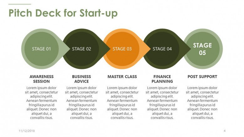 pitch deck for start up process chart with text