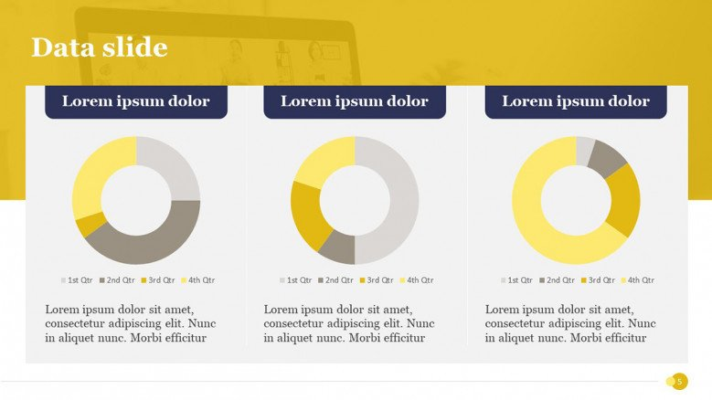 Three Data-driven donut charts in PowerPoint slide