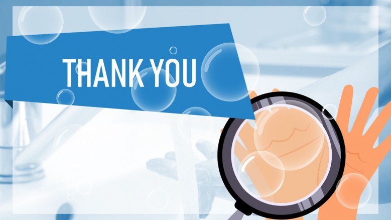 Blue thank you slide featuring soap bubles and hands illustration