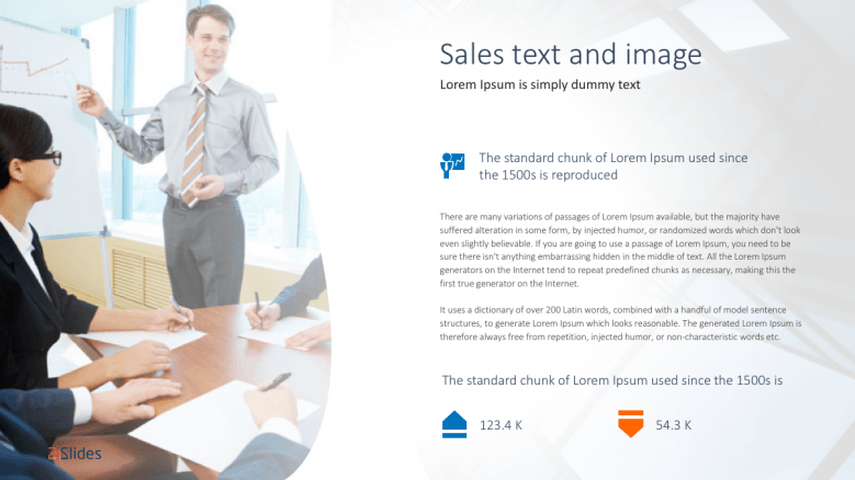 Sales text and image slide