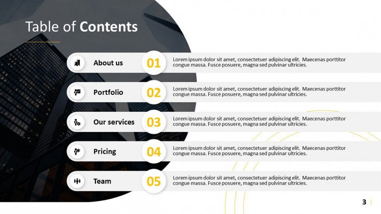 Vertical Table of Contents for a presentation