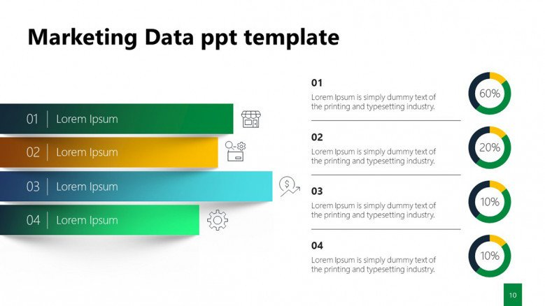 Ribbon graphic and pie charts for marketing results