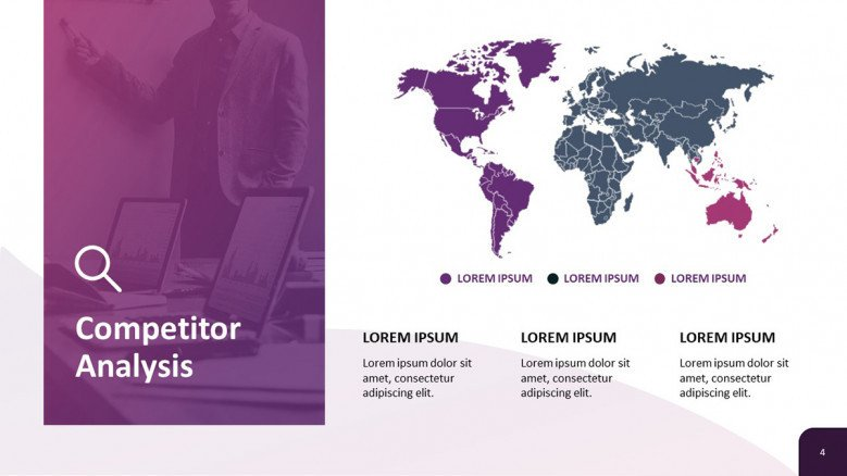 Competitor Analysis Slide with a world map graphic