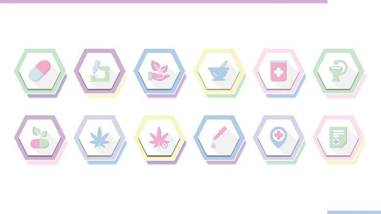 pharmaceutical icons in playful style