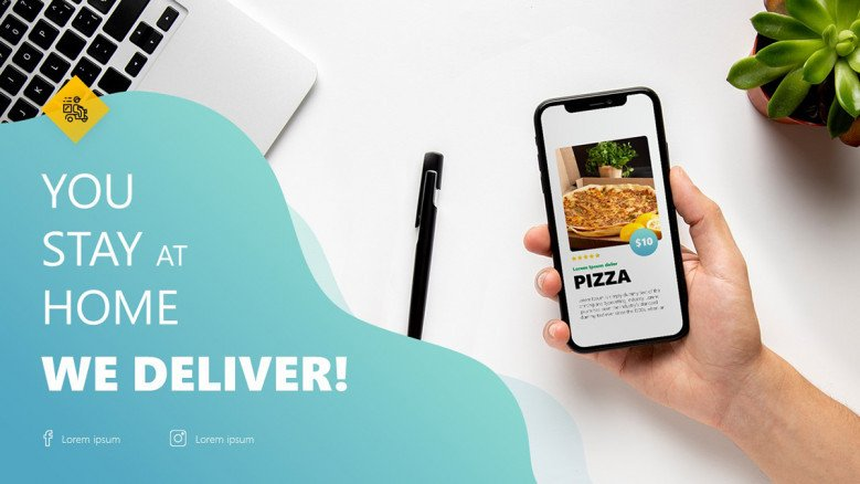Thank You Slide in creative style for food delivery presentation