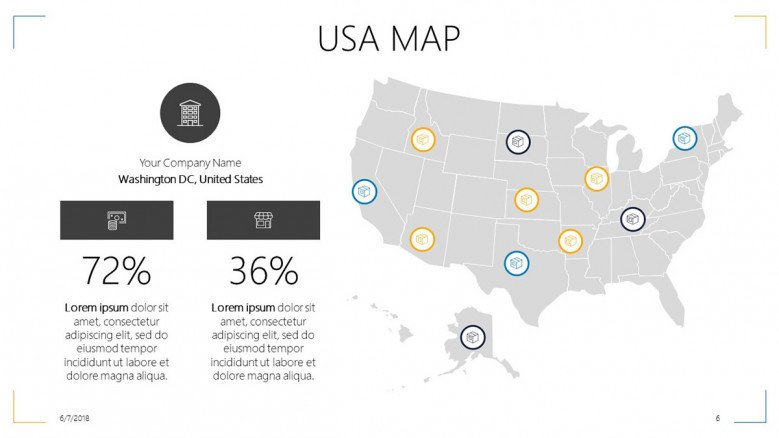 USA map slide with data percentage and informative text