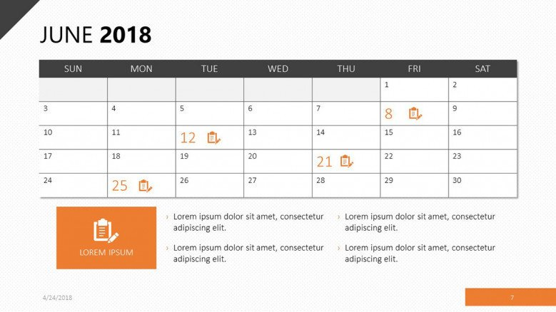 Calendar June 2018 slide in orange trim