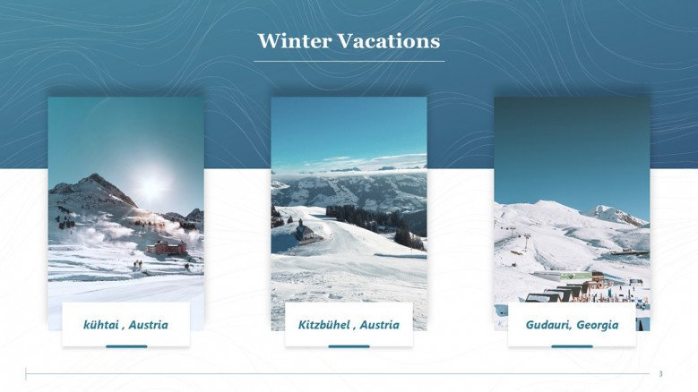 Winter Vacations Slide with three landscapes