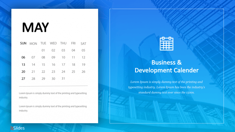 May business calendar slide