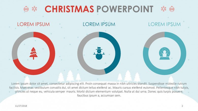 three compared circle chart in christmas theme presentation