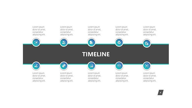 timeline slide in 10 key segments with comment boxes