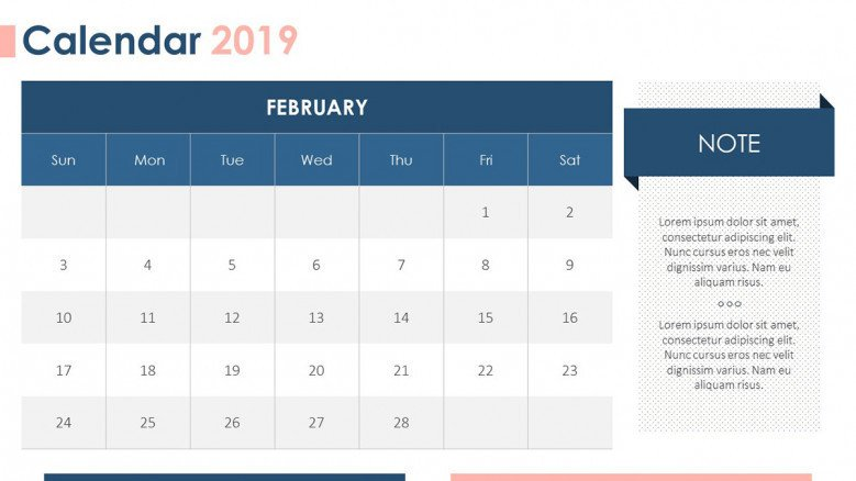 2019 calendar in February with description box