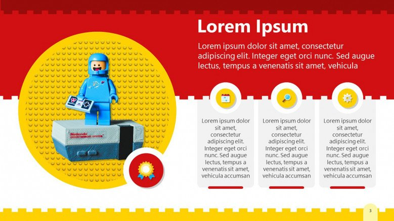PowerPoint Slide in yellow and red with a Lego background