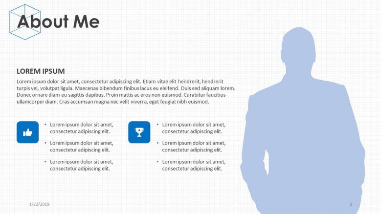 individual about me description slide with text