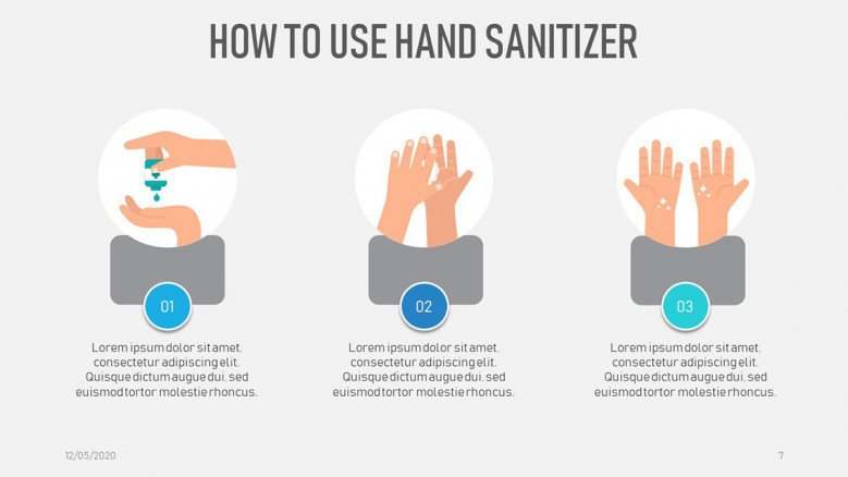 How to use hand sanitizer slide with illustrations