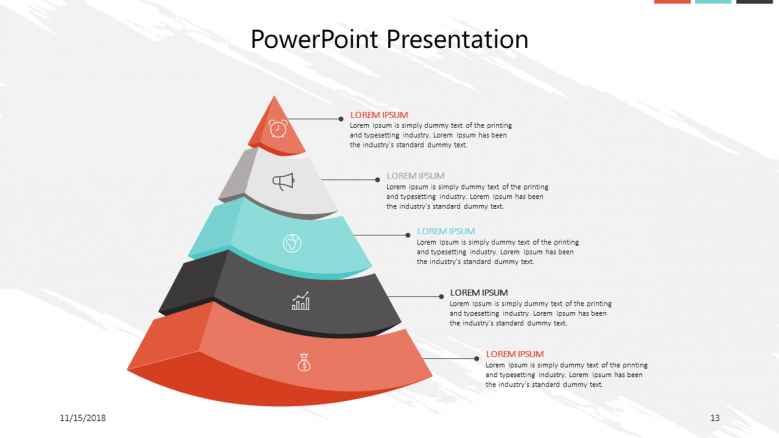corporate slide with pyramid chart and comment box