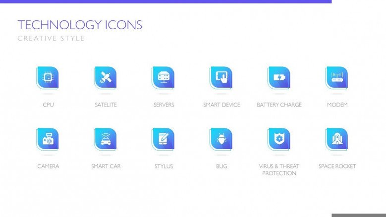 technology icon pack in blue with creative style