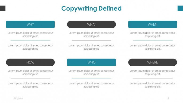 definition of copywriter slide in texts