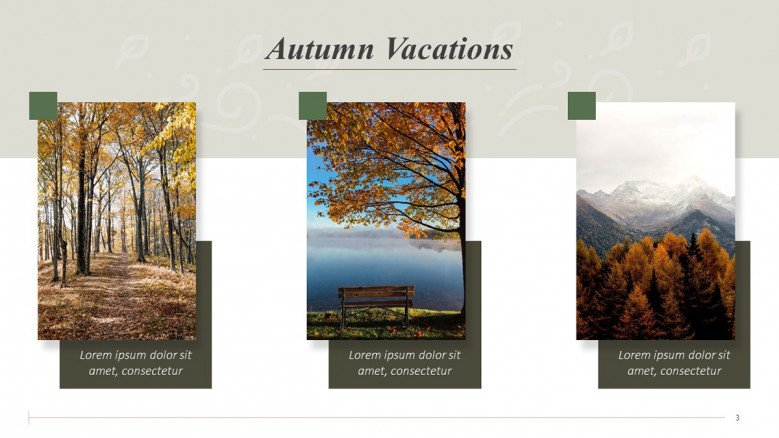 Autumn vacations slide with three landscape images