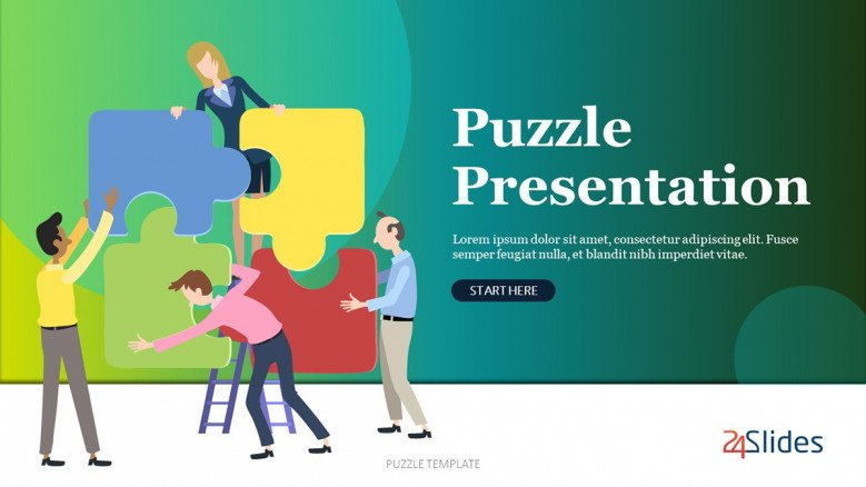 Playful Puzzle Presentation Template with illustrations of people and jigsaw puzzle pieces