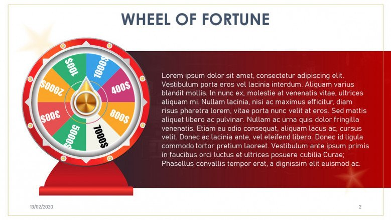 Red Wheel of fortune text slide