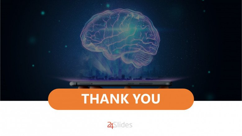 Thank you slide with a conceptual mind image