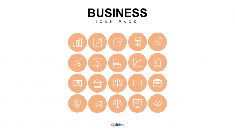 Presentation icons for business use with full icon background color