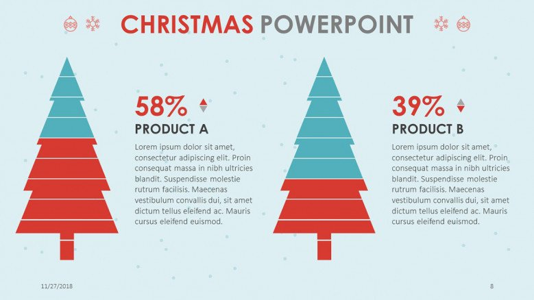 compared data percentage slide in pine tree illustration for christmas themed presentation