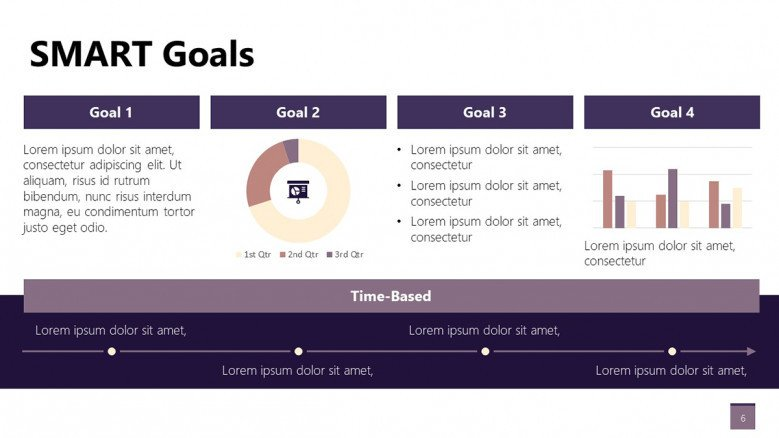 Smart Goals Slide with charts for business presentations