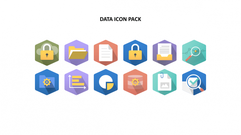 Diagonal background data icons