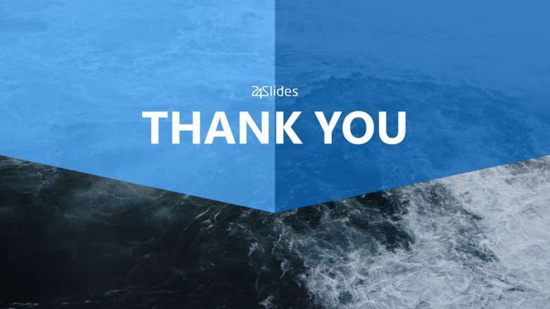 thank you slide with an ocean and blue background