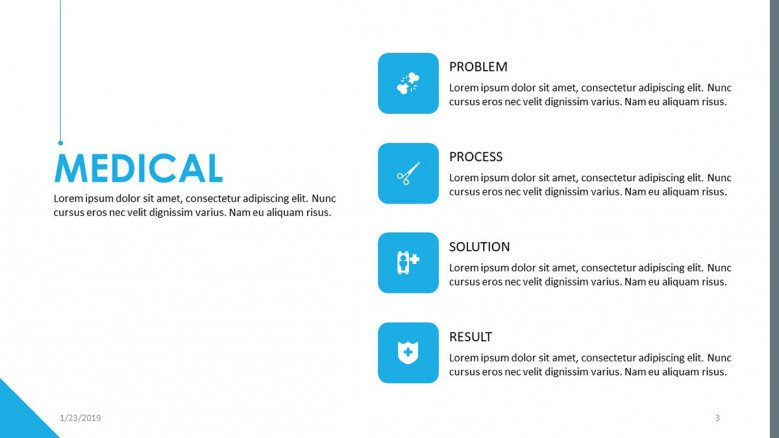 medical key points slide with icons