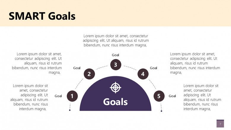 Smart goals diagrams with 5 stages for PowerPoint