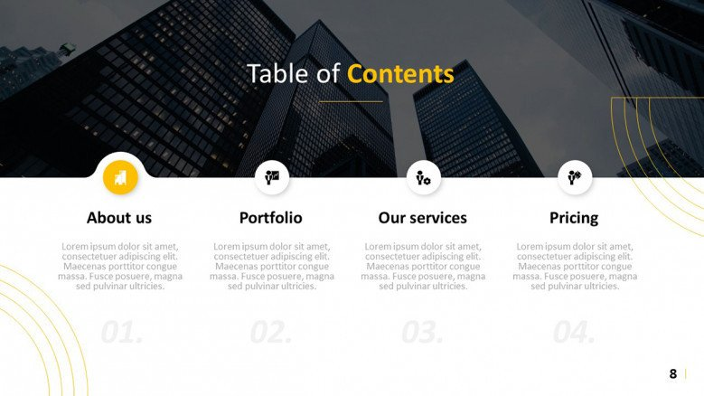 Simple Table of Contents Slide for a creative presentation