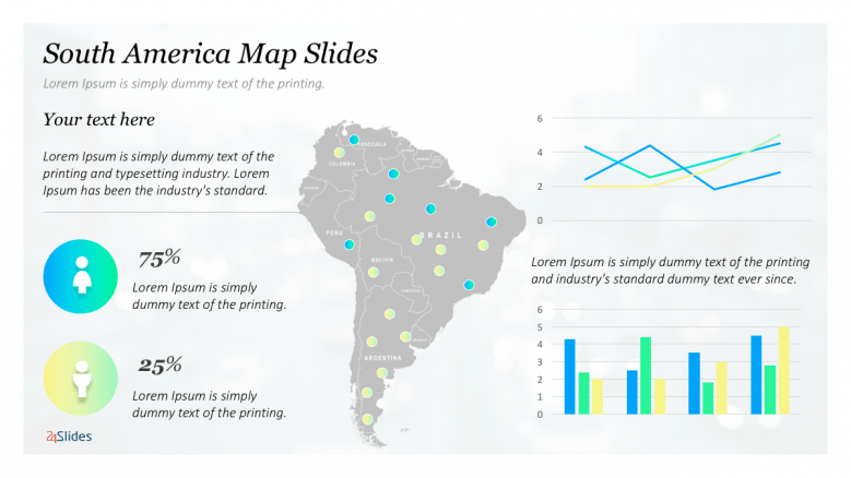 South America map with icons and graphs