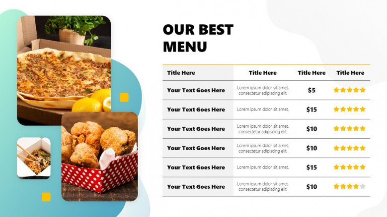 Food Menu for delivery