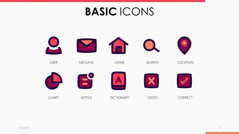 basic icons for presentation