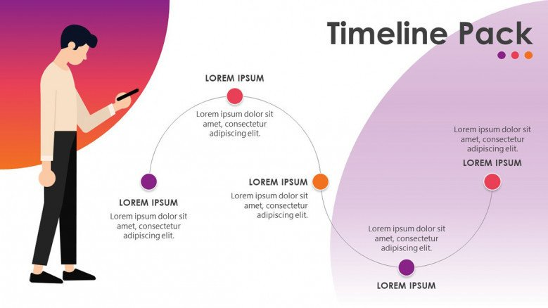 timeline slide in curve chart with five steps and comment texts