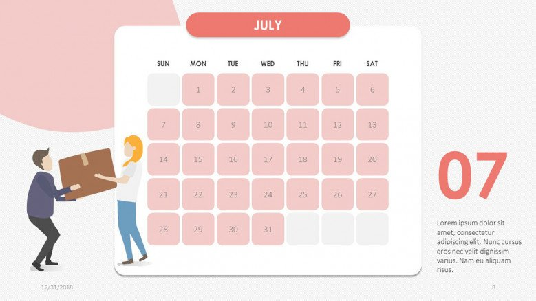 creative July slide in pink with people illustration