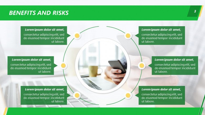 Chatbot Benefits and Risks PowerPoint Diagram